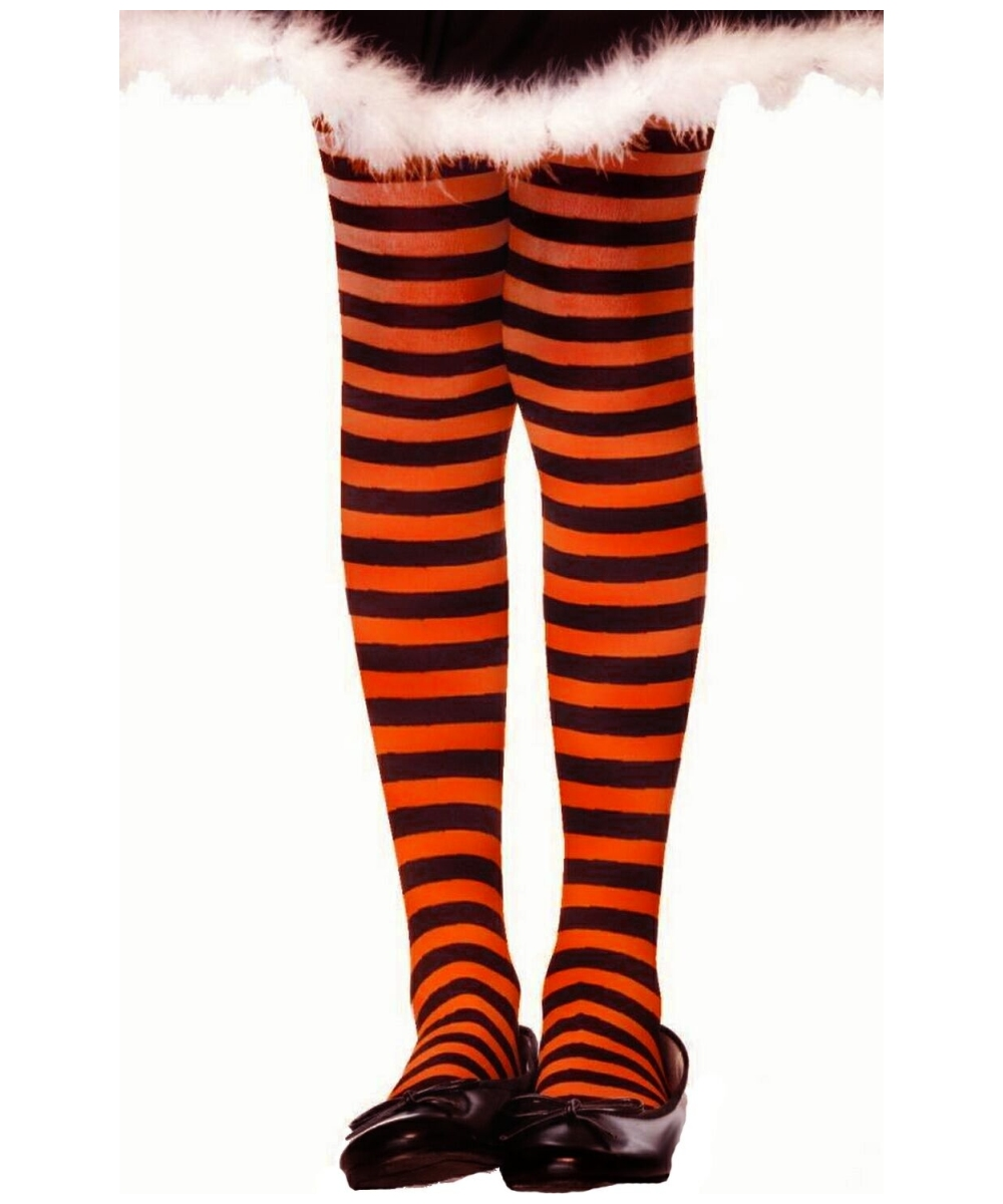 91218ce066823 Black/orange Striped Child Tights - Girls Costumes