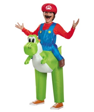 Bros Mario Riding Yoshi Video Game Costume