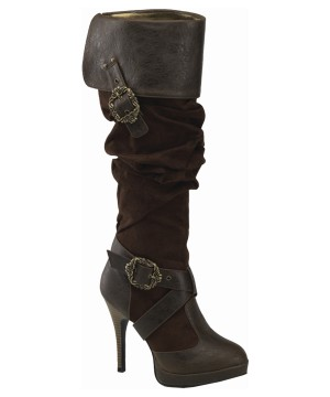 Brown Buckled Pirate Heels