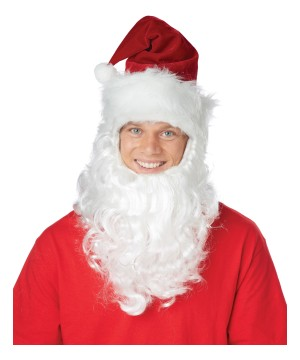 Christmas Hat Attached Beard Holiday Costume Set