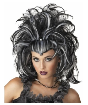 Evil Sorceress Black/white Wig
