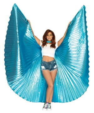 Metallic Blue Pleated Wings