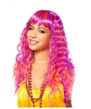 Orange Curly Wavy  Costume Wig