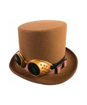 Steampunk Goggle Brown Top Hat